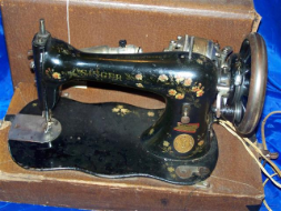 SINGER 15 CLASS FIDDLE BODY BLACK FLOWERS SEWING MACHINE