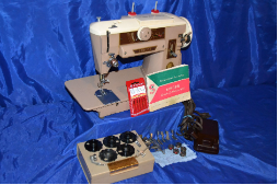 SINGER 401 SLANT NEEDLE ZIG-ZAG SEWING MACHINE ATTACHMENTS SERVICED A BEAUTY