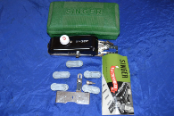 GREEN CASE BUTTONHOLER SINGER LOW SHANK ATTACHMENT W/MANUAL & CAMS