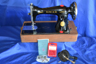 SINGER 15-90 SEWING MACHINE JULY 31ST 1946 W/HAND CRANK SERVICED READY TO SEW